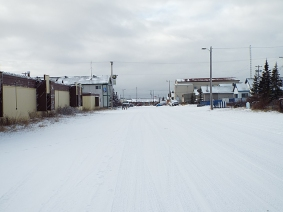 Typical winter street scene in town