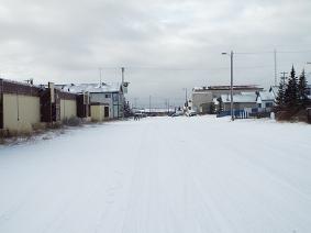 Typical winter street scene in town