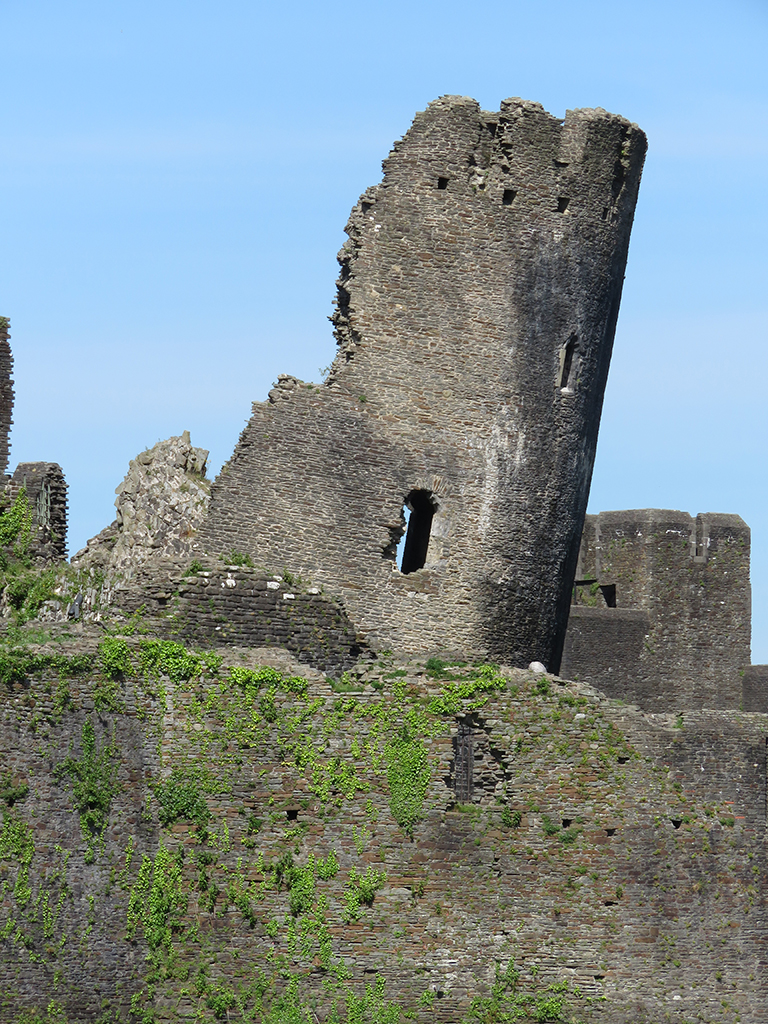 Leaning, ruined castle tower