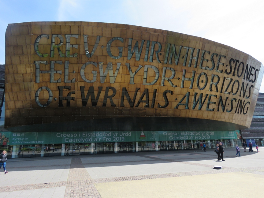 The front of the Wales Millennium Centre dome.