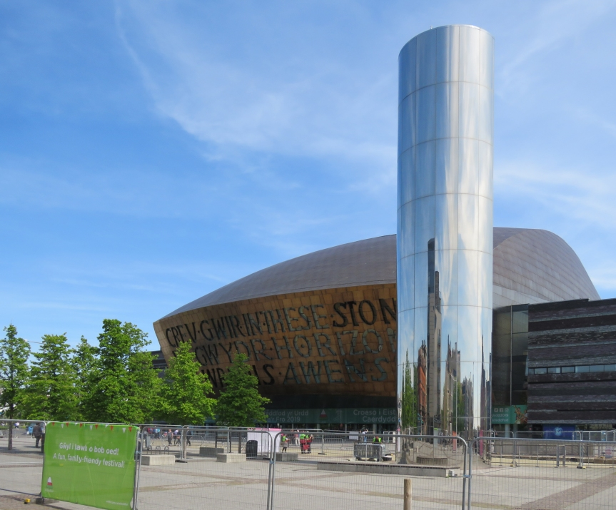 The Wales Millennium Centre with the Water Tower in the foreground.