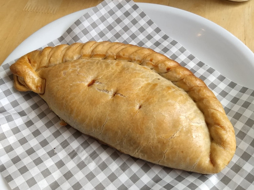 A pasty on a plate, waiting to be devoured!