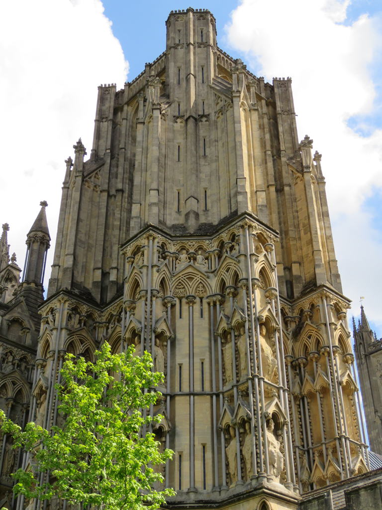 Stone cathedral tower.