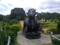 Sacred cow statue outside the palace,