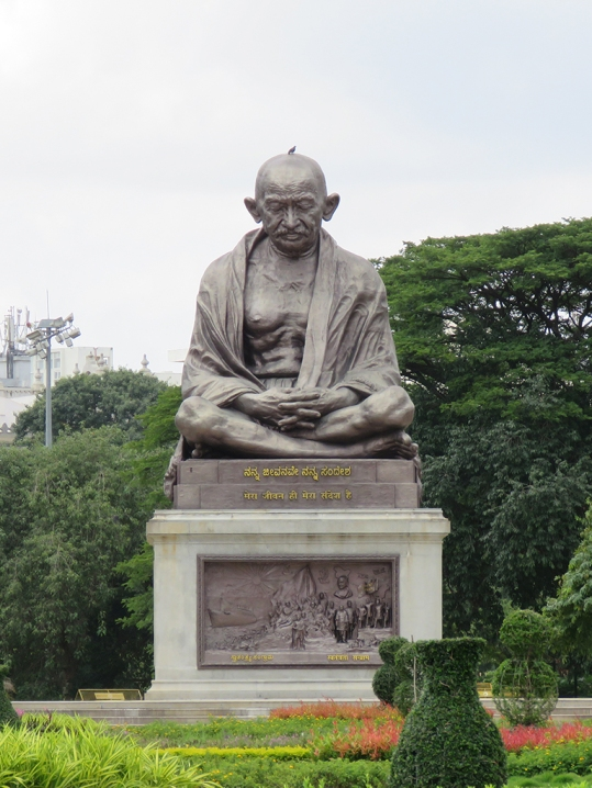 Mahatma Gandhi statue on the parliament grounds.